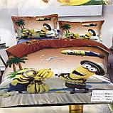 Комплект постельного белья детский Гадкий я Миньоны  полуторный размер Байка ( Фланель), фото 2