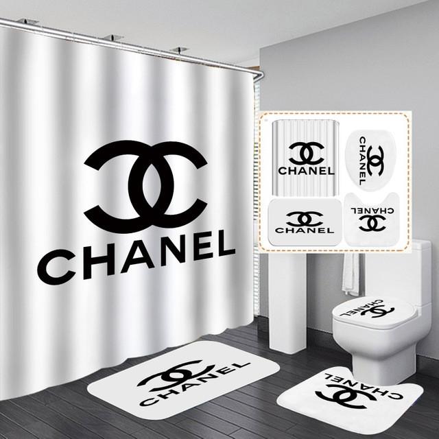"""Фіранка для ванни тканина """"CHANEL"""" 180*180 см незвичайні штори для ванни, душова шторка з принтом"""
