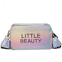 Женская прямоугольная голографическая сумка через плечо LITTLE BEAUTY серая белая серебряная