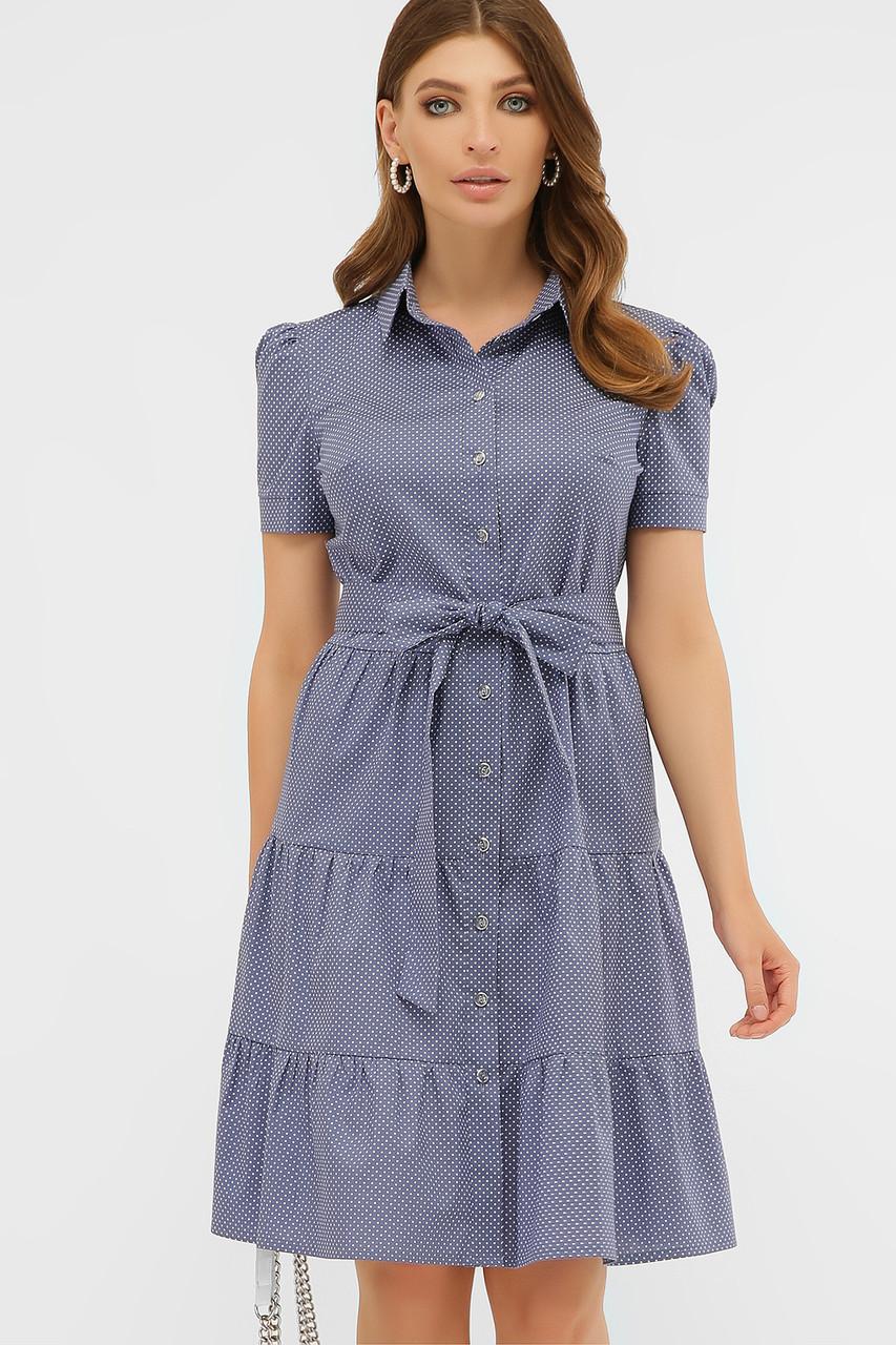 Летнее платье с короткими рукавами голубое в белый горошек Джела