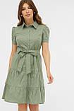 Летнее платье с короткими рукавами оливковое в белый горошек Джела, фото 2