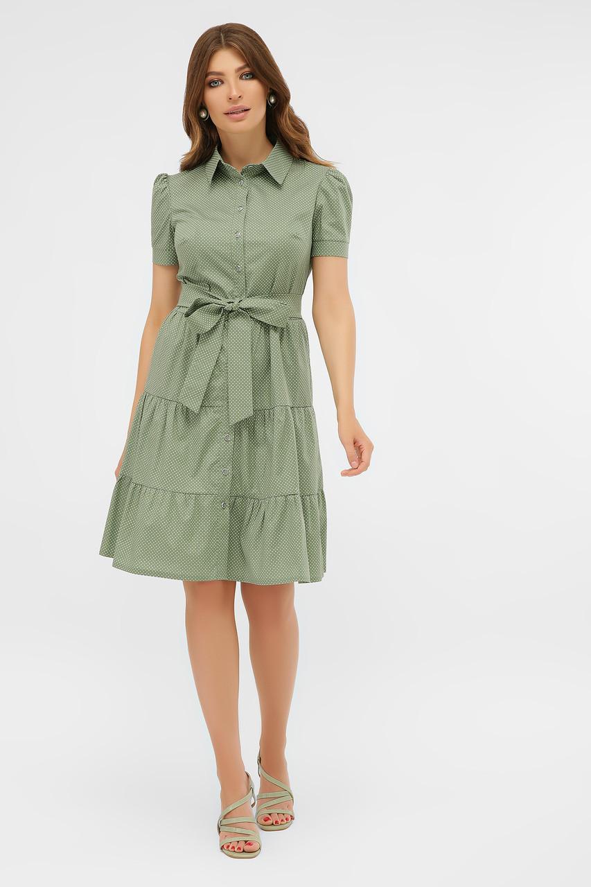 Летнее платье с короткими рукавами оливковое в белый горошек Джела