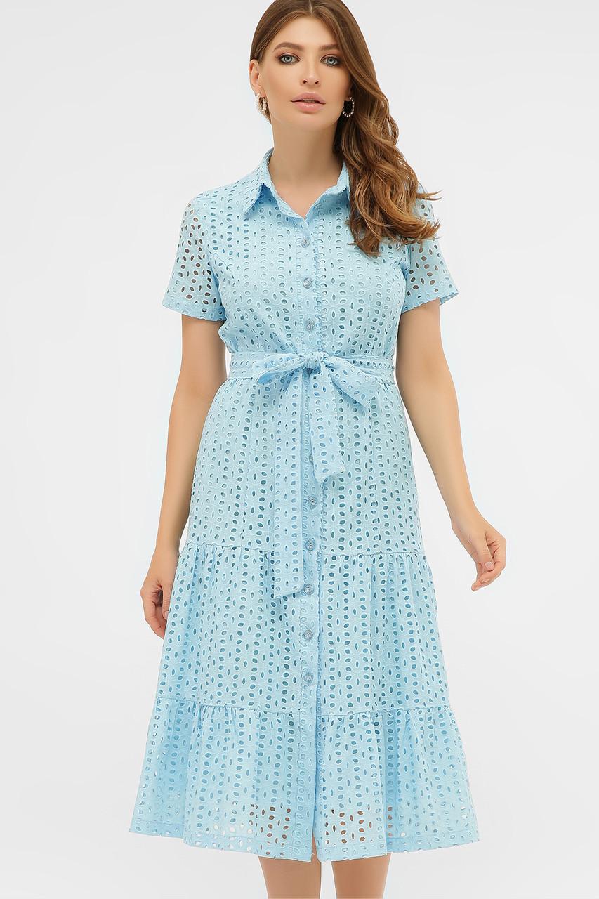 Летнее хлопковое платье на пуговицах голубое Уника 1