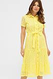 Летнее хлопковое платье на пуговицах желтое Уника 1, фото 3