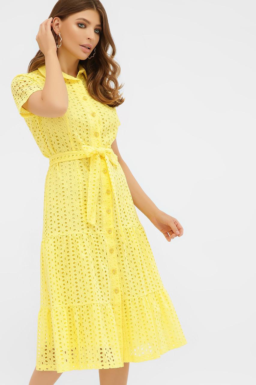 Летнее хлопковое платье на пуговицах желтое Уника 1