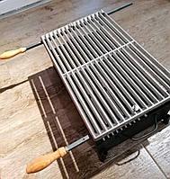 Чугунная решетка гриль-барбекю с ручками и подставкой под мангал 52х32 см, 17 прутьев (7,7 кг)