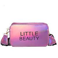 Женская прямоугольная голографическая сумка через плечо LITTLE BEAUTY розовая