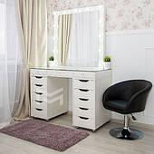 Гримерный столик со стеклянной столешницей М622 зеркало в РАМЕ