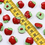 """Пуговицы """"Яблочки красные с зелёными листиками"""" №009, фото 2"""