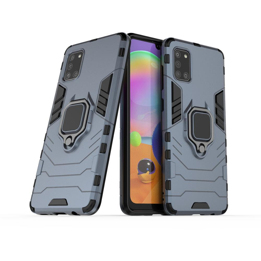Чехол Ring case для Samsung Galaxy A31 (A315) бронированный бампер с кольцом темно-синий