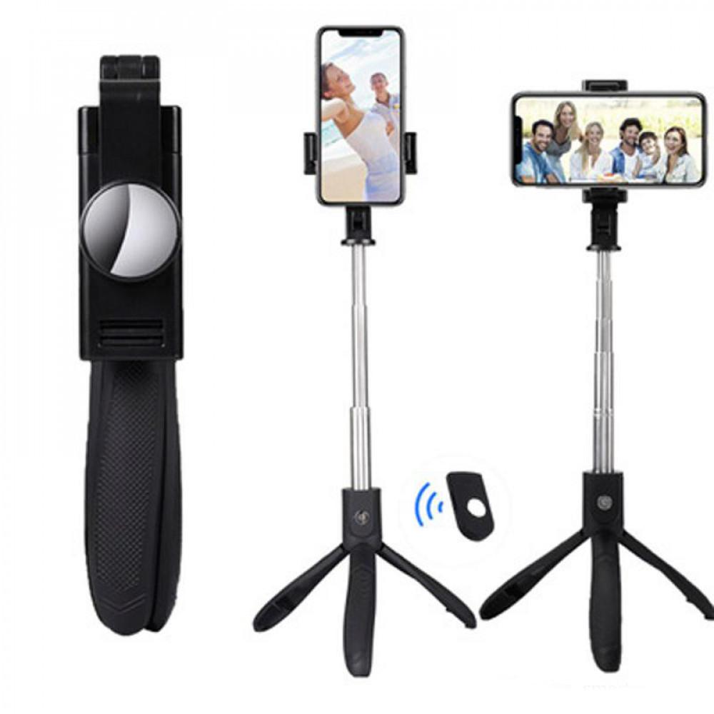 Селфи палка-тренога монопод штатив для телефона с пультом Bluetooth K06 Черный