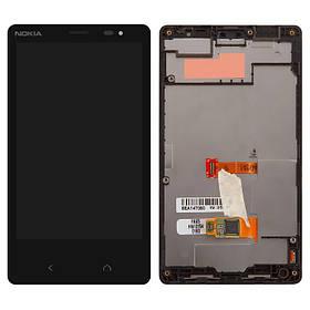 Дисплей (экран) для Microsoft (Nokia) X2 Dual Sim (M-1013) с сенсором (тачскрином) и рамкой черный Оригинал