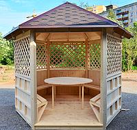 Беседка шестигранная деревянная 5,8 м2  для дачи от производителя Wood Gazebo 009