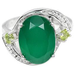 Серебряное кольцо с авантюрином зеленым, 14*10 мм., 2389КЦА