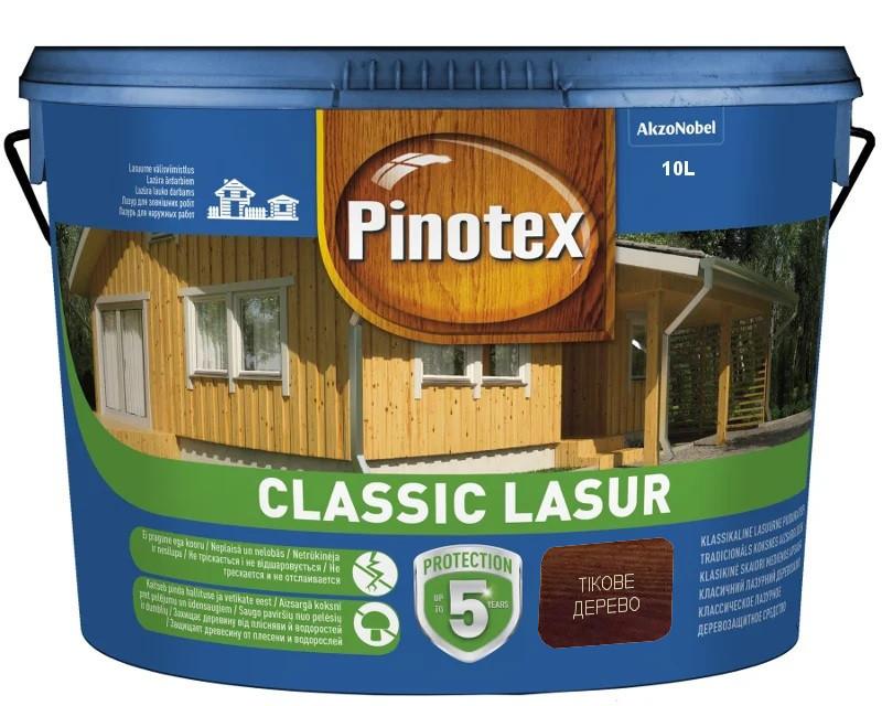 Лазурь-лак антисептический PINOTEX CLASSIC LASUR для древесины матовый тиковое дерево 10л