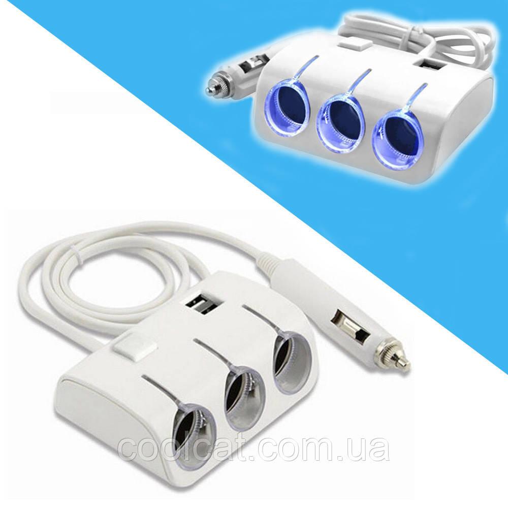 Автомобильный разветвитель тройник 3+2 USB 1506A / 1505A для прикуривателя