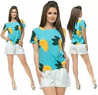 Костюм летний крепдешин бананы  42-44-46-48  р