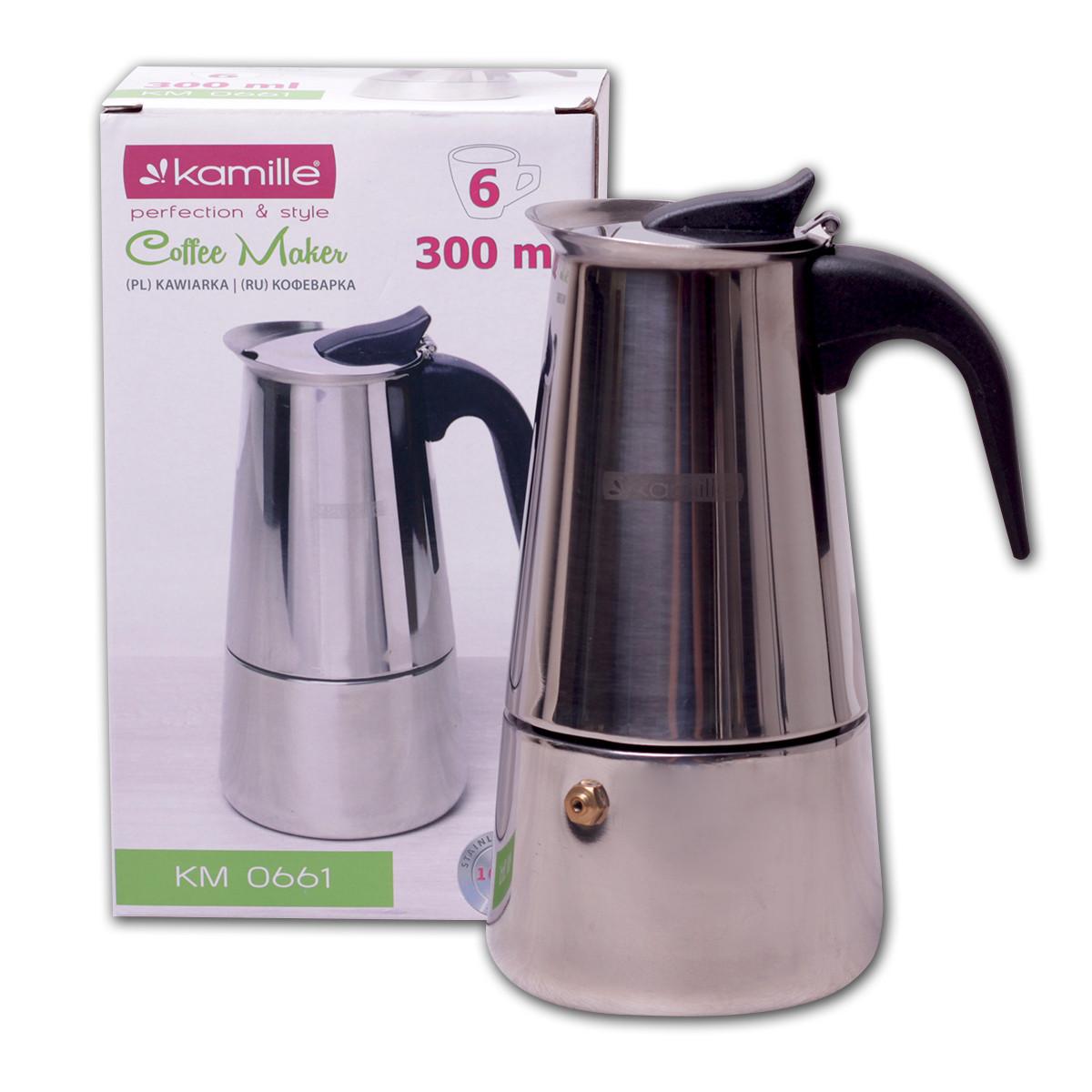 Кофеварка гейзерная Kamille 300мл из нержавеющей стали KM-0661
