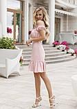 Розовое платье с открытыми плечами, фото 2