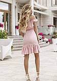 Розовое платье с открытыми плечами, фото 3