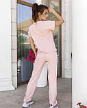 Розовый трикотажный спортивный костюм с напылением, фото 3
