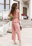 Розовый брючный комбинезон с баской, фото 3