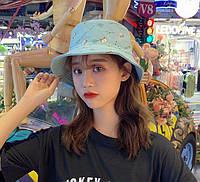 Панама Шляпа Котики Waiting двусторонняя голубая