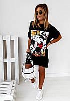 Платье-футболка белое и черное прямое с рисунком (в расцветках)