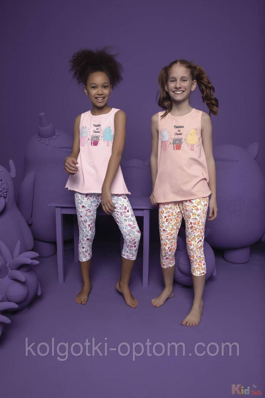 ОПТОМ Пижама бриджи и футболка с мороженками для девочки 2-3 лет (92 см.)  Donella 8697840567217