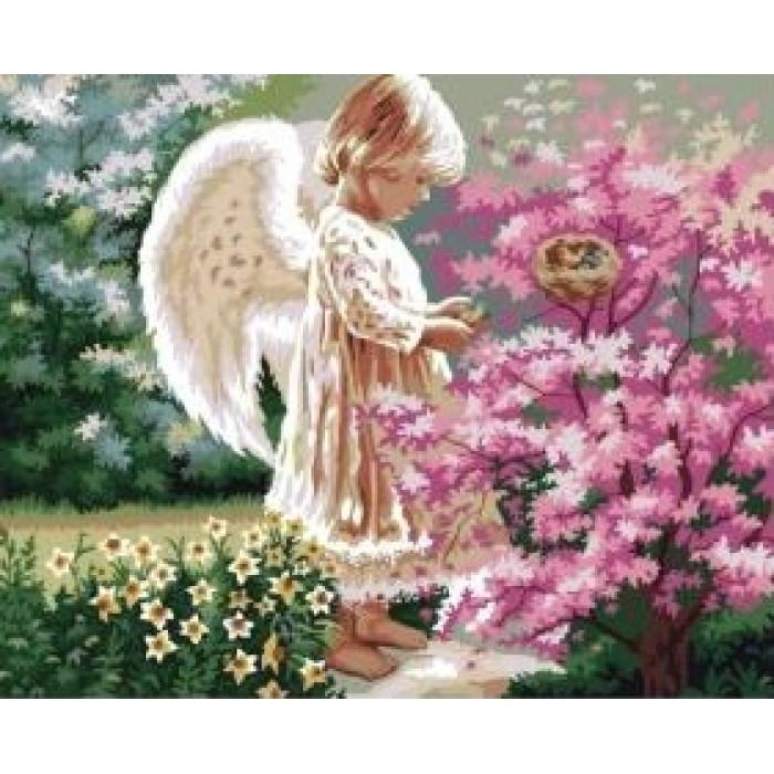 Картина по номерам Ангелочек и птички  ТМ Идейка 40 х 50 см КНО1048