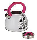 Чайник зі свистком для плити A-PLUS 3 л Термо-малюнок Метелики, фото 2