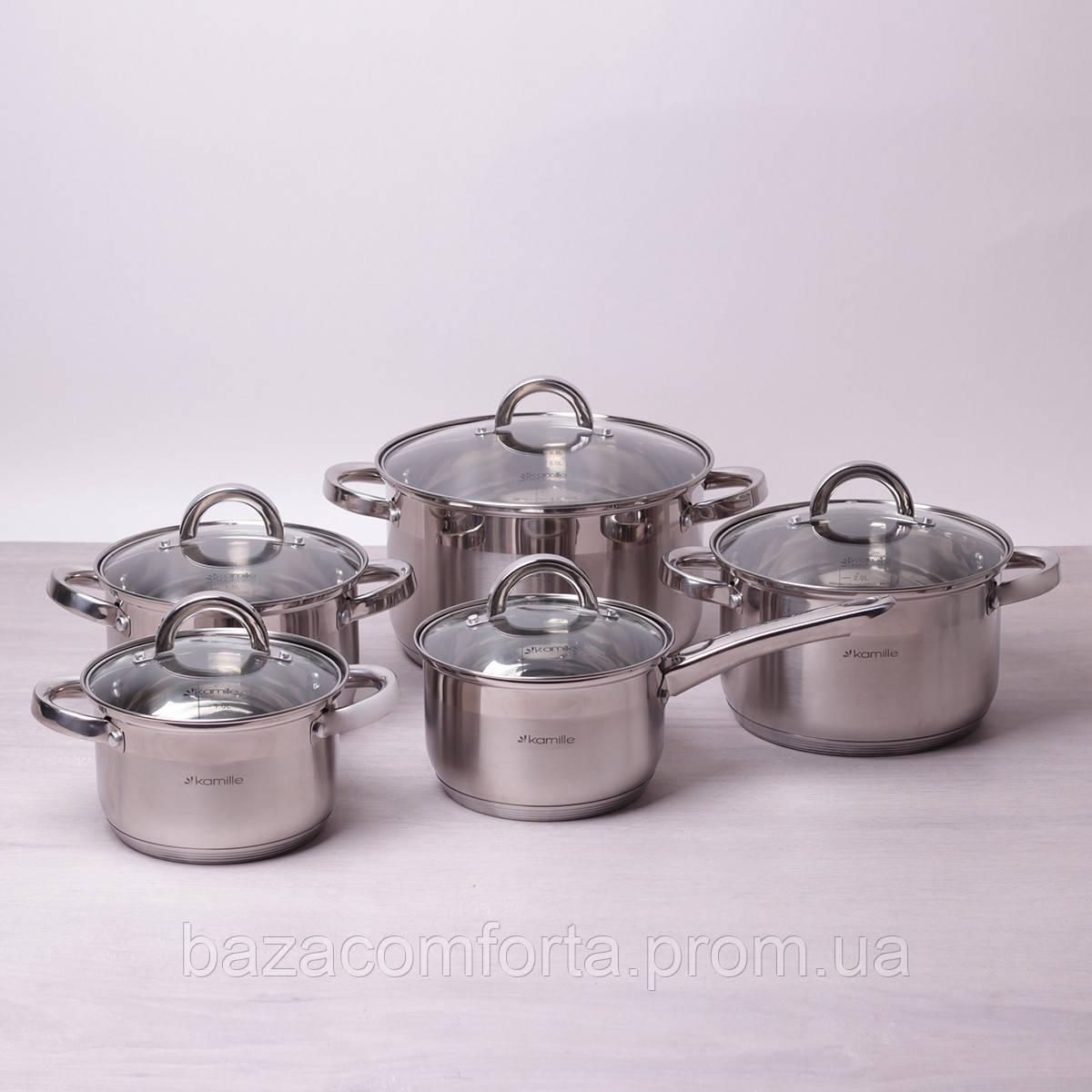 Набор посуды Kamille из нержавеющей стали 10 предметов