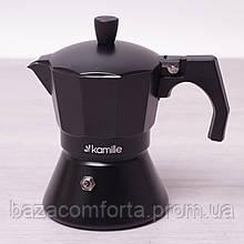 Кофеварка гейзерная Kamille 150мл из алюминия с широким индукционным дном