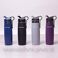 Спортивный термос-бутылка Kamille 500мл из нержавеющей стали с трубочкой и клипсой, фото 2
