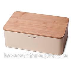Хлібниця Kamille 33*21*12см з нержавіючої сталі з кришкою бамбуковій