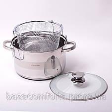 Набор посуды Kamille (кастрюля + дуршлаг) из нержавеющей стали 3 предмета, фото 3