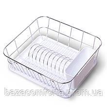 Сушарка для посуду Kamille 37*33*13,5 см з піддоном