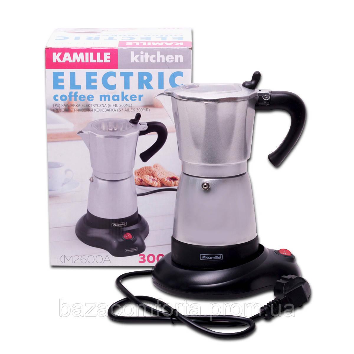 Кофеварка электрическая гейзерная Kamille 300мл из алюминия