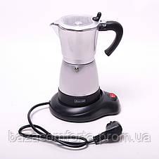 Кофеварка электрическая гейзерная Kamille 300мл из алюминия, фото 3