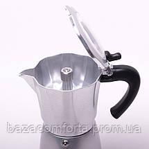 Кофеварка электрическая гейзерная Kamille 300мл из алюминия, фото 2
