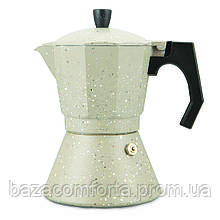 Гейзерна кавоварка 300мл (6 порцій) з алюмінію з широким індукційним дном