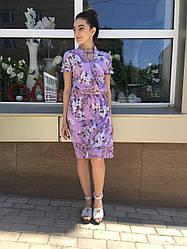 Летнее платье с воротником  стойка