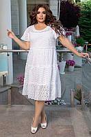 Платье, Ткань:  Прошва,  р-р  48-50, 52-54, 56-58, цвет: ( Темно синий, Белый )