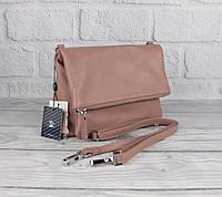 Небольшая кожаная женская сумочка Sankaslo 63173 дымчато-пудровая, клатч -конверт, фото 1