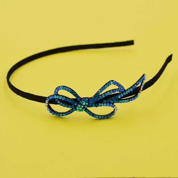 Обруч для волос металл, черный атлас, стразы, ширина 5 мм