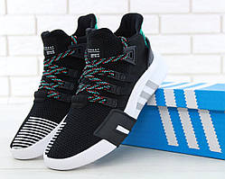 Мужские кроссовки Adidas EQT ADV Black White (Адидас ЕКТ черно-белые сетка 41-45 весна/лето)