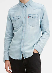 Джинсовая рубашка Levi's Barstow Western Shirt - SUPER LIGHT STONE BLUE