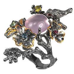 Серебряное кольцо с розовым кварцем, 12*11 мм., 2391КЦР