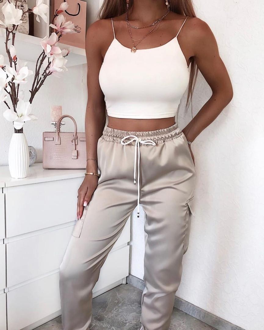 Жіночі штани літні з шовку в кольорах