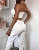 Жіночі штани літні з шовку в кольорах, фото 4